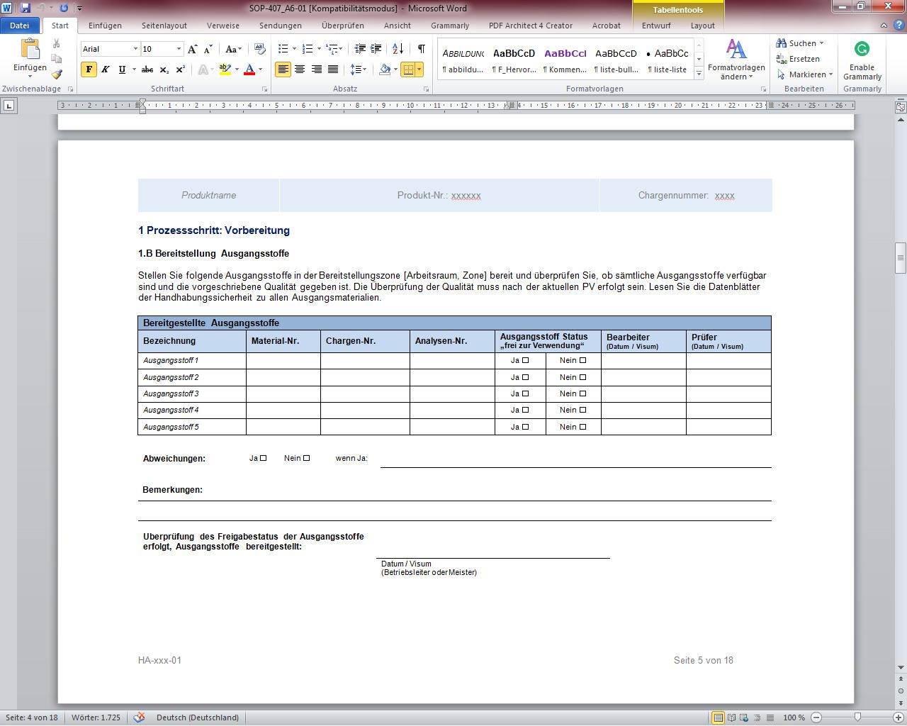 SOP 407-01 Erstellung von Herstellungs- und Verpackungsanweisungen